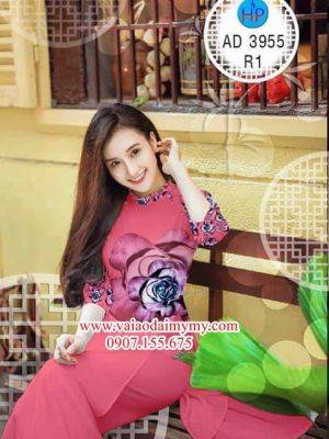 Vải áo dài Hoa hồng AD 3955