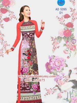 Vải áo dài Hạc và hoa Mẫu Đơn AD 5265
