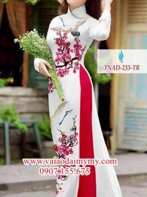 Vải áo dài hoa đào xinh tươi AD TNAD 233