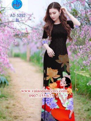 Vải áo dài Sen và thiếu nữ AD 5292