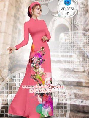 Vải áo dài Hoa Mẫu Đơn AD 3973
