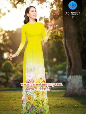 Vải áo dài hoa vàng rực rỡ AD N2657