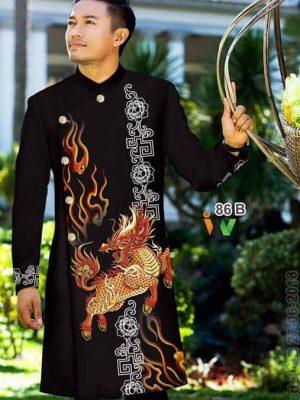 Vải áo dài nam hình rồng mẫu mới AD IW 86