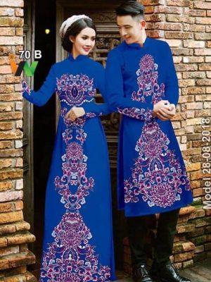 Vải áo dài cặp đôi hoa văn AD IW 70