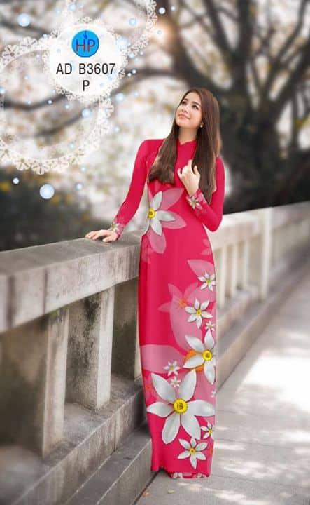 Vải áo dài Hoa in 3D AD B3607