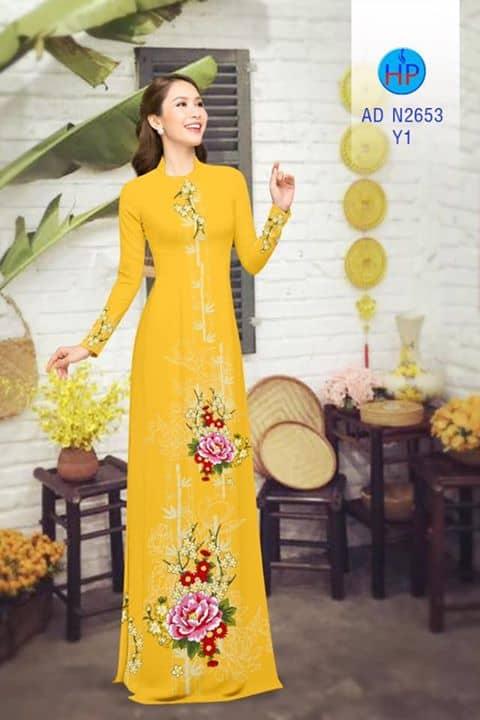 Vải áo dài hoa cẩm chướng đẹp AD N2653