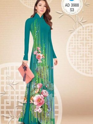 Vải áo dài Hoa in 3D AD 3988
