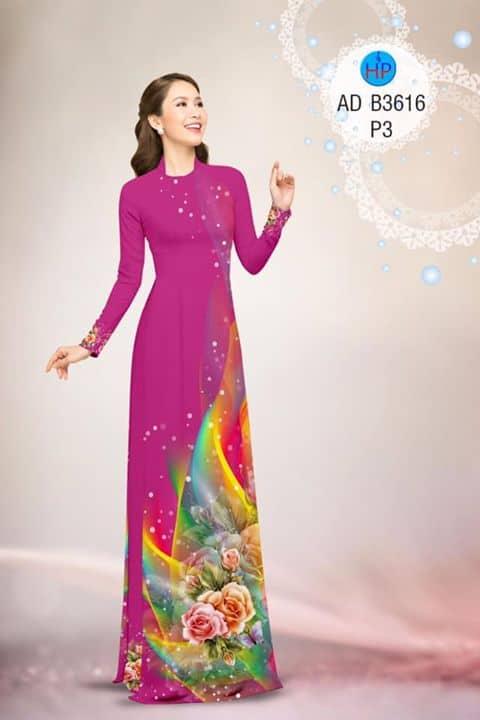 Vải áo dài Hoa hồng AD B3616