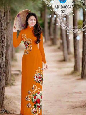 Vải áo dài Hoa hồng và ngọc trai AD B3604