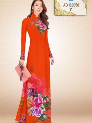 Vải áo dài Hoa hồng AD B3658