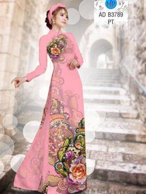 Vải áo dài Hoa hồng AD B3789