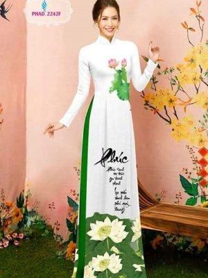 Vải áo dài thư pháp và hoa sen AD PHAD 2242