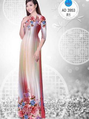 Vải áo dài Hoa hồng AD 3953