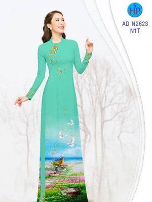 Vải áo dài Phong cảnh yên bình AD N2623