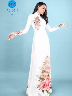 Vải áo dài Hoa hồng AD 5011