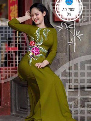 Vải áo dài Hoa mẫu đơn AD 7031