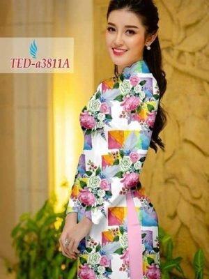 Vải áo dài hoa hồng và ô vuông AD TED a3811