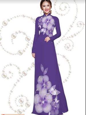 Vải áo dài hoa đẹp dịu dàng AD HT 2826