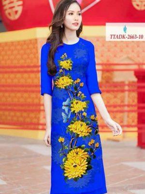 Vải áo dài cách tân hoa cúc AD TTADK 2663