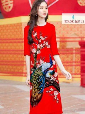 Vải áo dài cách tân chim công AD TTADK 2657