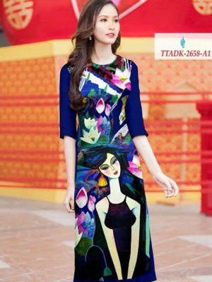 Vải áo dài cô gái và hoa sen AD TTADK 2658