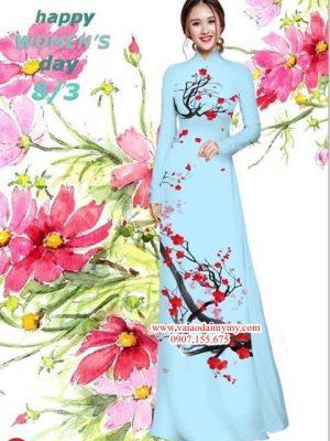 Vải áo dài hoa đào AD HD4308