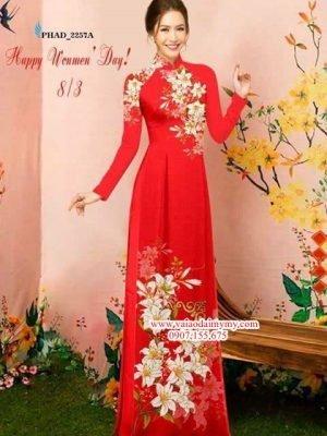 Vải áo dài hoa ly tươi thắm AD PHAD 2257