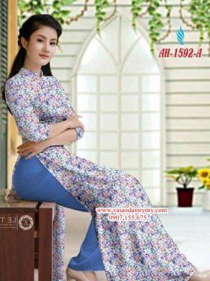 Vải áo dài hoa nhí AD AH 1592