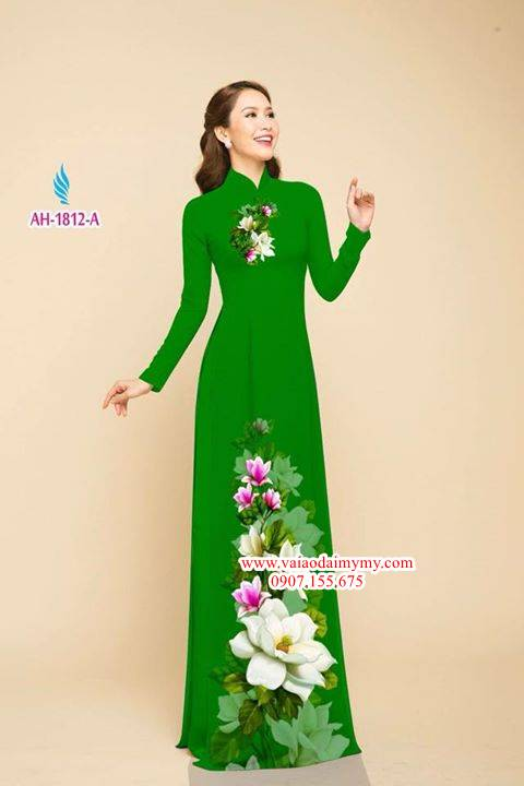 Vải áo dài hoa đẹp rực rỡ AD AH 1812