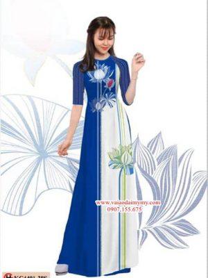Vải áo dài hoa sen cách điệu AD KC4401