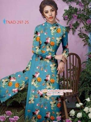 Vải áo dài hoa hồng đều AD TNAD 297