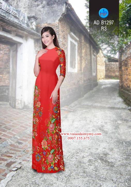 Vải áo dài hoa đẹp mới AD B1297