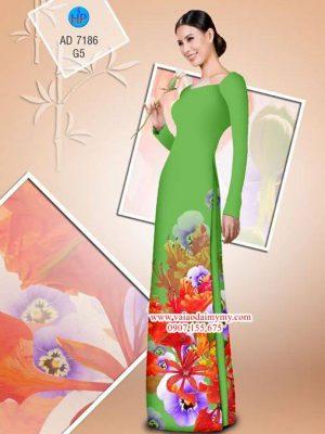 Vải áo dài hoa Phượng AD 7186