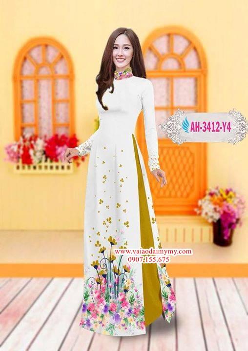 Vải áo dài hoa đẹp trên tà AD AH 3412