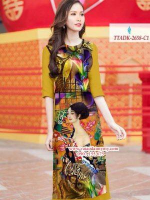Vải áo dài hình cô gái rực rỡ AD TTADK 2658