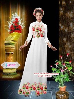 Vải áo dài hoa hồng AD AH 1192