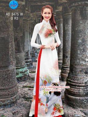 Vải áo dài Hoa phượng hoa học trò AD 5475