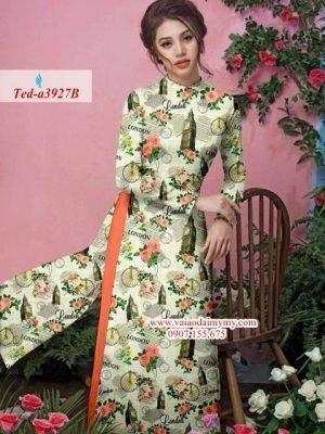 Vải áo dài hoa hồng phong cảnh AD TED a3927