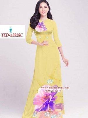 Vải áo dài hoa đẹp trên dưới AD TED a3928