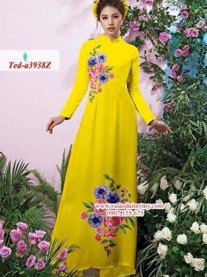 Vải áo dài hoa đẹp trên dưới AD TED a3938