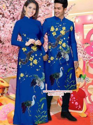 Vải áo dài cặp đôi hạc và hoa mai AD IW 88