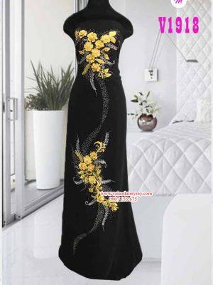 vải áo dài đính hoa kết cườm