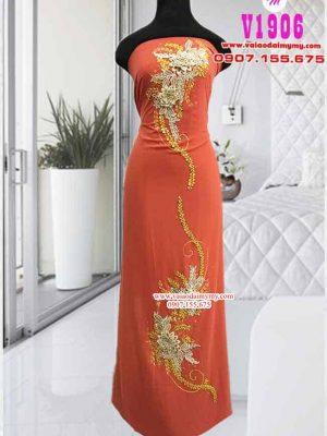 Vải áo dài đính hoa sang trọng AD V1906