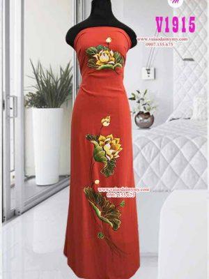 Vải áo dài vẽ hình hoa sen cao cấp AD V1915