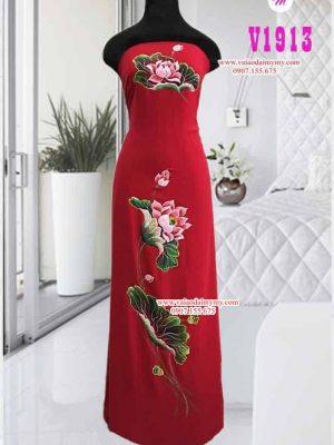 Vải áo dài vẽ hoa sen màu đỏ AD V1913