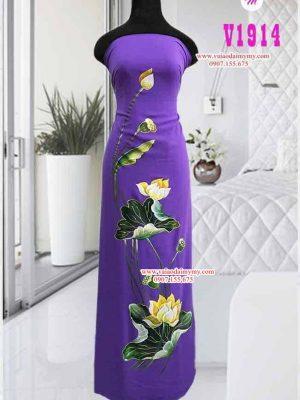 Vải áo dài vẽ hình hoa sen cao cấp AD V1914