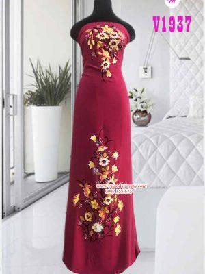 Vải áo dài vẽ hoa đính hạt AD V1937