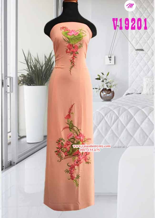 vải áo dài thêu hoa đẹp