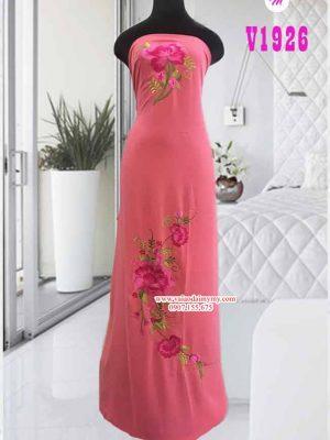 Vải áo dài thêu hoa trên dưới AD V1926