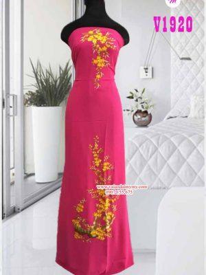 Vải áo dài thêu hoa vàng đẹp AD V1920